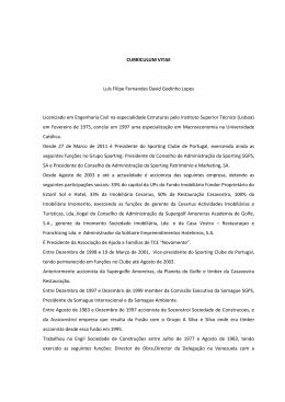 CURRICULUM VITAE Luís Filipe Fernandes David Godinho Lopes