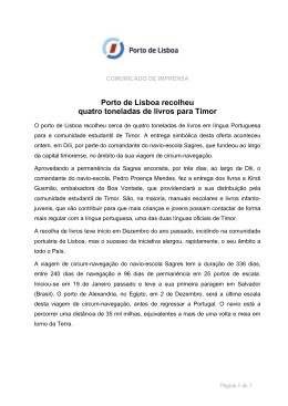 Porto de Lisboa recolheu quatro toneladas de livros para Timor