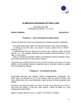 OLIMPÍADAS REGIONAIS DE FÍSICA 2009