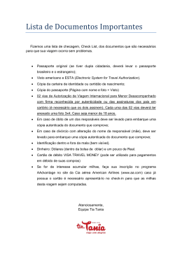 Lista de Documentos Importantes para o Embarque