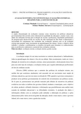avaliação interna no contexto das avaliações externas