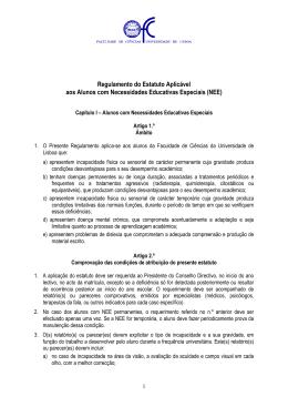 Regulamento do Estatuto Aplicável aos Alunos com Necessidades