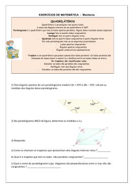 EXERCÍCIOS DE MATEMÁTICA - Monitoria QUADRILÁTEROS 1