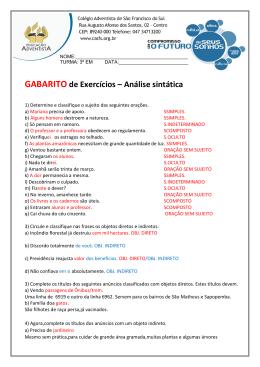 GABARITO de Exercícios – Análise sintática