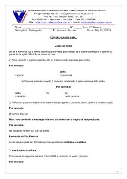 8º Turma: ______ Disciplina: Português Professora: Renata