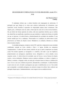 1 RELIGIOSIDADE E FORMAÇÃO DA CULTURA BRASILEIRA