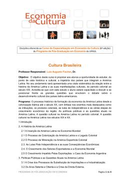 Cultura Brasileira - Programa de Pós