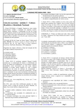 Lista de exercícios – módulo 2 – Cultura Brasileira e Identidade
