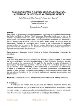 ensino de história e cultura afro-brasileira para a formação da