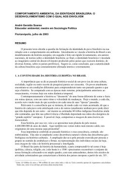 COMPORTAMENTO AMBIENTAL DA IDENTIDADE BRASILEIRA: O
