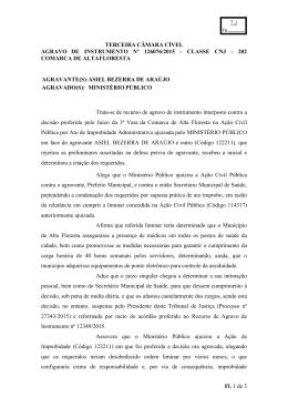 TERCEIRA CÂMARA CÍVEL AGRAVO DE INSTRUMENTO Nº