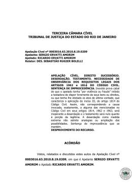 terceira câmara cível tribunal de justiça do estado do rio de janeiro