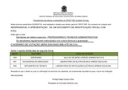 O HORÁRIO DE VOTAÇÃO SERÁ DAS 8H30 MIN ATÉ - cefet-mg