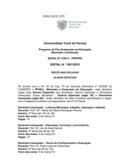 Edital Disciplinas Isoladas 2015_1