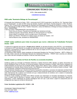 """FIEG sedia """"Seminário Diálogo da Terceirização"""" A Federação das"""