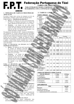 preços e tarifas aplicar 2013