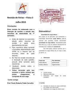Revisão de Férias – Física C – Prof. Paulo Roberto