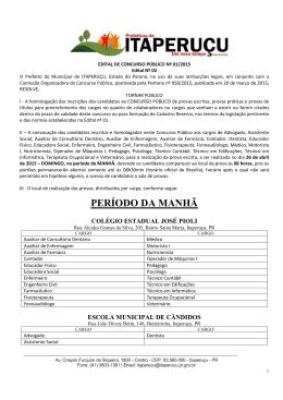 Edital de Homologação das inscrições Concurso