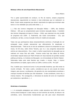 Balanço crítico de uma Experiência Educacional Darcy Ribeiro Tive
