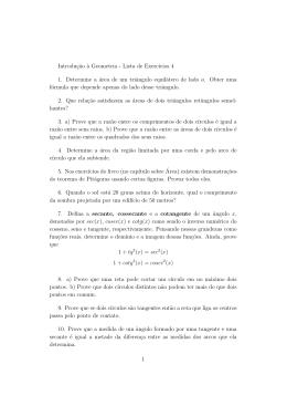 Introduç˜ao `a Geometria - Lista de Exercıcios 4 1. Determine a área