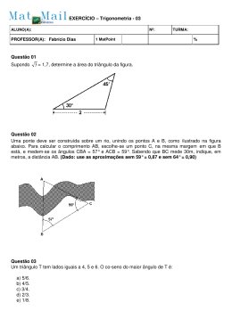 Questão 01 Supondo 3 = 1,7, determine a área do