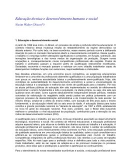 Educação técnica e desenvolvimento humano e social