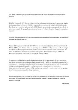 OIT, PNUD e CEPAL lançam novo estudo com indicadores de