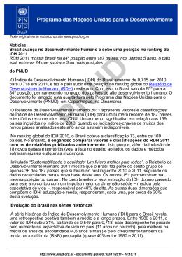 Notícias Brasil avança no desenvolvimento humano e sobe uma