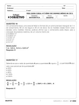 QUESTÃO 16 QUESTÃO 17