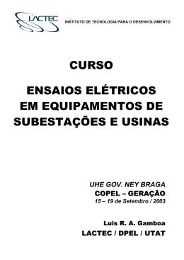 curso ensaios elétricos em equipamentos de subestações e usinas