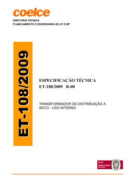 ESPECIFICAÇÃO TÉCNICA ET-108/2009 R-00