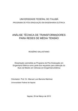 ANÁLISE TÉCNICA DE TRANSFORMADORES PARA