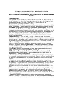 DECLARAÇÃO DOS DIREITOS DAS PESSOAS DEFICIENTES