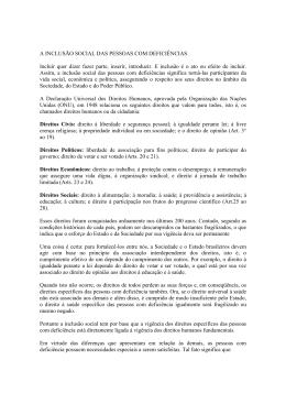 A INCLUSÃO SOCIAL DAS PESSOAS COM DEFICIÊNCIAS