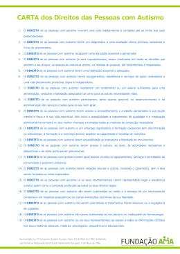 CARTA dos Direitos das Pessoas com Autismo