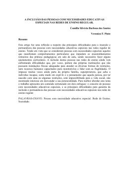 A INCLUSÃO DAS PESSOAS COM NECESSIDADES EDUCATIVAS
