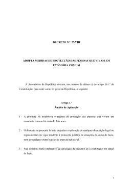 DECRETO N.º 55/VIII ADOPTA MEDIDAS DE PROTECÇÃO DAS