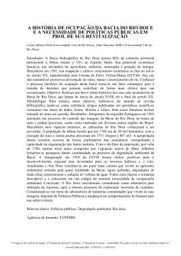 A HISTÓRIA DE OCUPAÇÃO DA BACIA DO RIO DOCE E