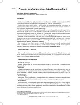Protocolo para Tratamento de Raiva Humana no Brasil