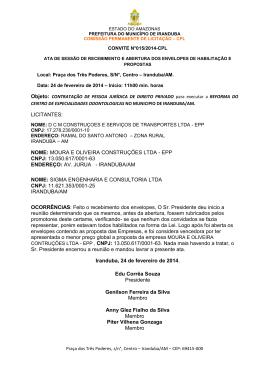 LICITANTES: NOME: MOURA E OLIVEIRA CONSTRUÇÕES LTDA