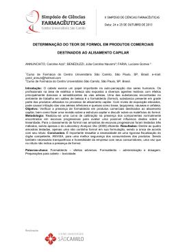determinação do teor de formol em produtos