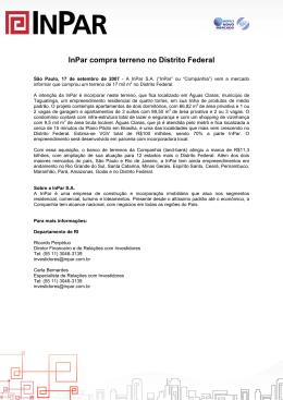 InPar compra terreno no Distrito Federal