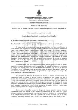 Direito Constitucional: conceito e classificação. 1. Direito