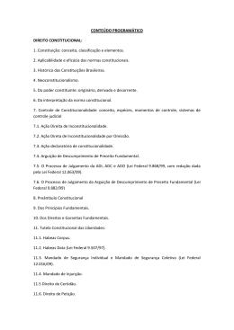 CONTEÚDO PROGRAMÁTICO DIREITO CONSTITUCIONAL: 1