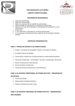 PÓS-GRADUAÇÃO LATO SENSU DIREITO CONSTITUCIONAL
