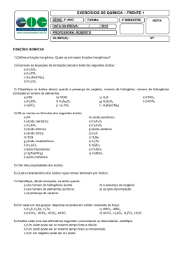 EXERCÍCIOS DE QUÍMICA – FRENTE 1