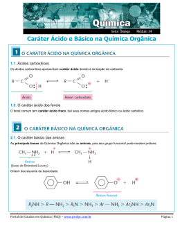 Caráter Ácido e Básico na Química Orgânica