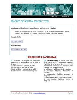 Reação de Neutralização Total - Portal de Estudos em Química