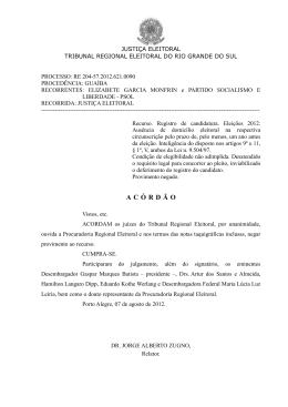 Acórdão – processo RE 20457 - Tribunal Regional Eleitoral do Rio