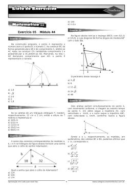 Lista de exercícios 3ºAno_Apostila 01 - Matematica II